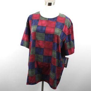 New Vintage Geometric Print Microfiber Shirt XL